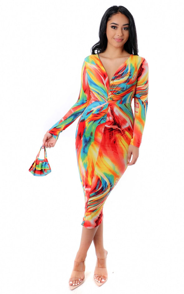 Annalise Pink Multi Long Sleeve Bodycon Dress