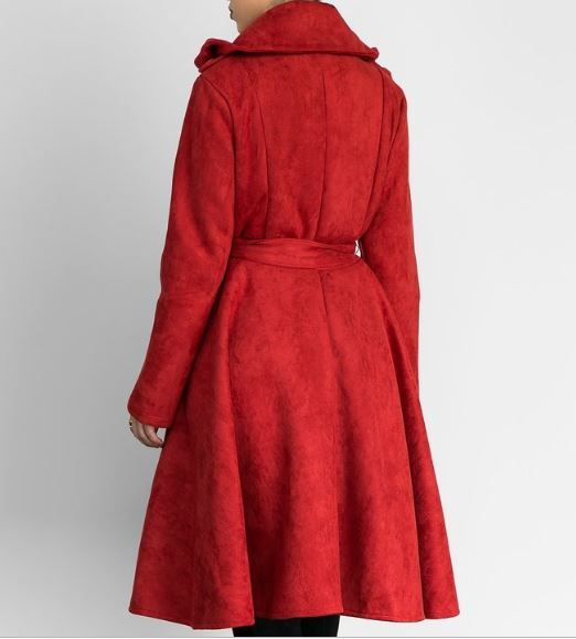 BabyDoll Suede Trench Coat - Red