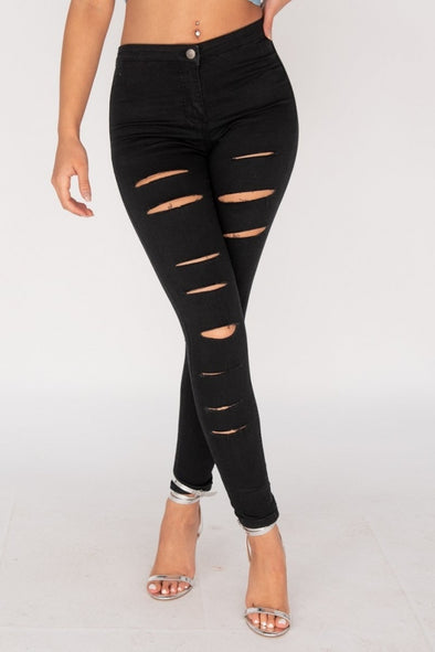 Cutting Up Black Multi-Slashed High Waist Jeans