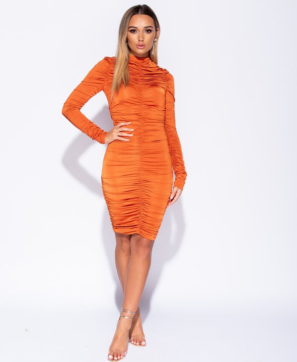 Kimbella High Neck Ruched  Bodycon Dress