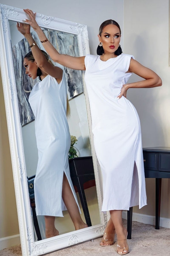Nova Shoulder Pad Side Slit Maxi Dress- White