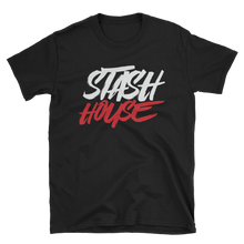 Load image into Gallery viewer, Stash House BLK/WHITE/RED Unisex Softstyle T-Shirt with Tear Away Label