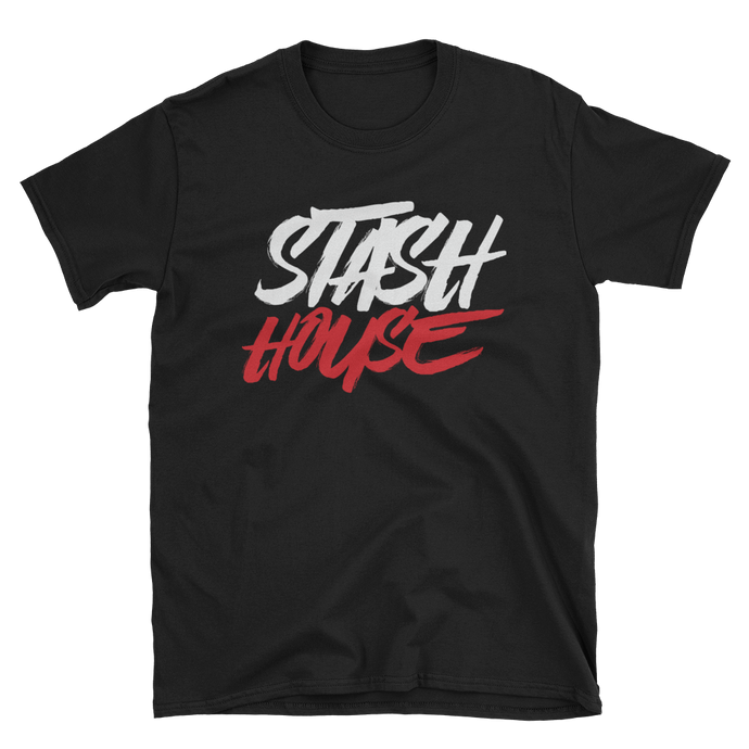 Stash House BLK/WHITE/RED Unisex Softstyle T-Shirt with Tear Away Label