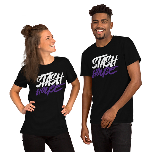 Stash House BLACK/WHITE/PURPLE Unisex Short Sleeve Jersey T-Shirt with Tear Away Label