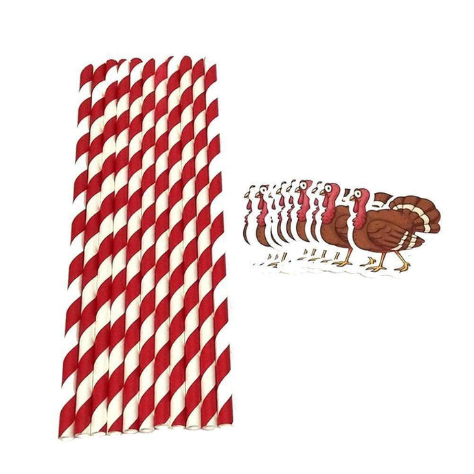 Funny Paper Straws with Turkey Pattern - Northern Bears
