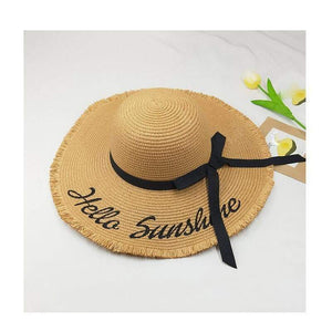 Hello Sunshine Sequin Letter Wide Brim Beach Hat - Northern Bears