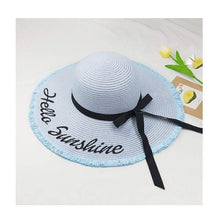 Load image into Gallery viewer, Hello Sunshine Sequin Letter Wide Brim Beach Hat - Northern Bears