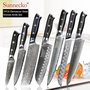 SUNNECKO Damascus Chef Utility Santoku Slicing Paring Cleaver Steak Bread Knife Damascus Steel Cut Kitchen Knives Set G10 Handle