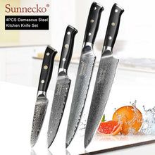 Load image into Gallery viewer, SUNNECKO Damascus Chef Utility Santoku Slicing Paring Cleaver Steak Bread Knife Damascus Steel Cut Kitchen Knives Set G10 Handle