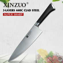 XINZUO 8'' Chef Knife 3 layers 440C Clad Stainless Forged Steel Kitchen Knives Pakkawood Handle Chef's Knife Kitchen Gyuto Knife
