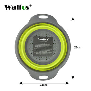 WALFOS Foldable Silicone Colander Fruit Vegetable Washing Basket Strainer Strainer Collapsible Drainer With Handle Kitchen Tools