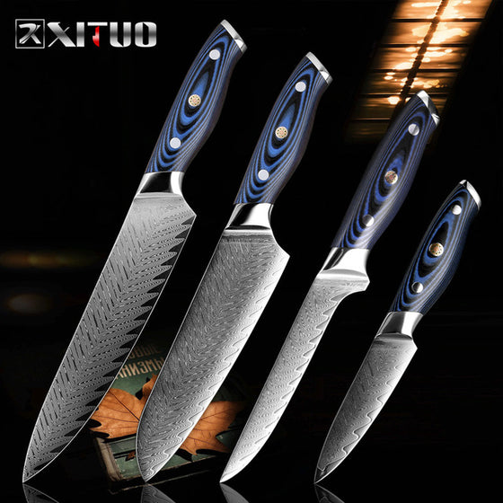 XITUO Damascus Chef Knife Professional Japan Sankotu Cleaver Boning Gyuto Kitchen Knife Cooking Tool Exquisite Plum Rivet Handle
