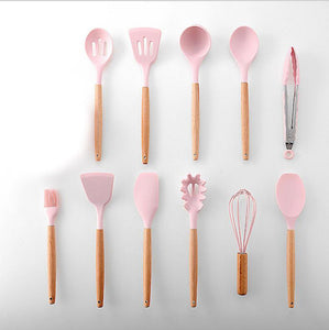 Silicone Cookware Set Kitchen Utensils Cooking Sets Kitchen Kit Accessories Gadgets Tools with Holder Box Nonstick Eco-Friendly