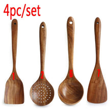 Load image into Gallery viewer, Thailand Teak Natural Wood Tableware Spoon Ladle Turner Long Rice Colander Soup Skimmer Cooking Spoons Scoop Kitchen Tool Set