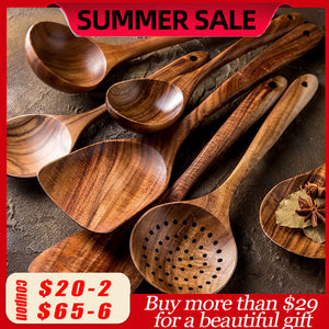 Thailand Teak Natural Wood Tableware Spoon Ladle Turner Long Rice Colander Soup Skimmer Cooking Spoons Scoop Kitchen Tool Set