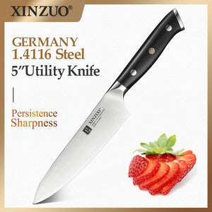 XINZUO 5 inch Utility Knife High Carbon Stainless Steel Germany 1.4116 Kitchen Knives Brand  Ebony Handle Kitchen Accessories