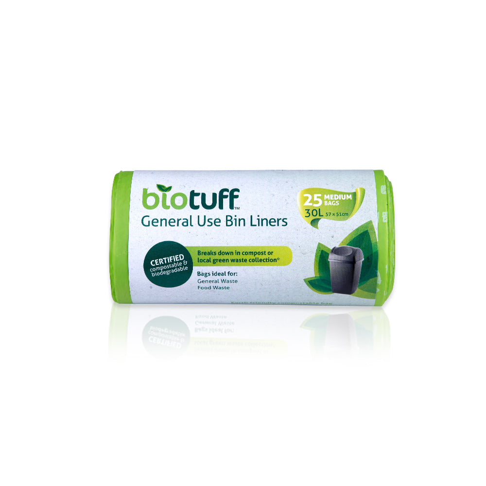 BIOTUFF General Use Bin Liners 25 Bags Biodegradable - 3 SIZES, SMALL, MEDIUM AND LARGE - FutureUses™