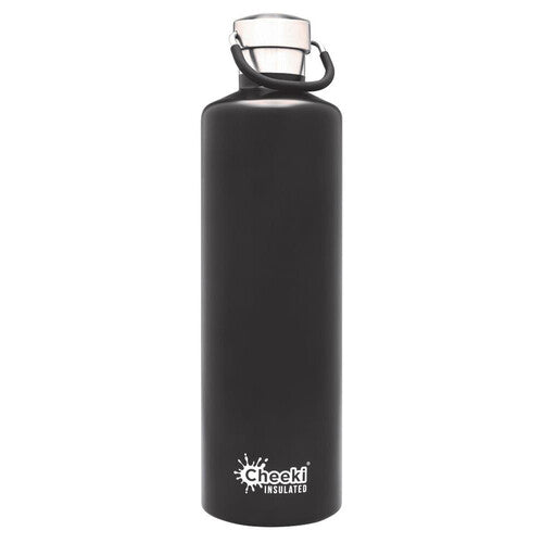 CHEEKI Stainless Steel Bottle Insulated - 1L Matte Black/Silver - FutureUses™