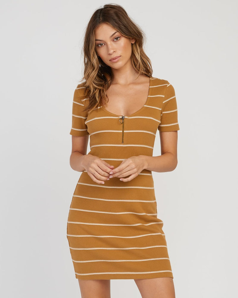 -RVCA- Women's Apparel - Dresses X-Small / Beeswax Z-RVCA - Donner Striped Knit Dress