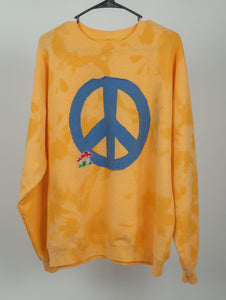 Yellow Peace Out Crew Neck