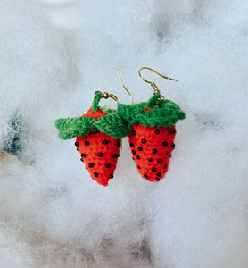 Crochet Strawberry Earrings