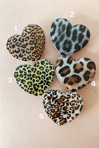 Leopard Heart Pop Socket