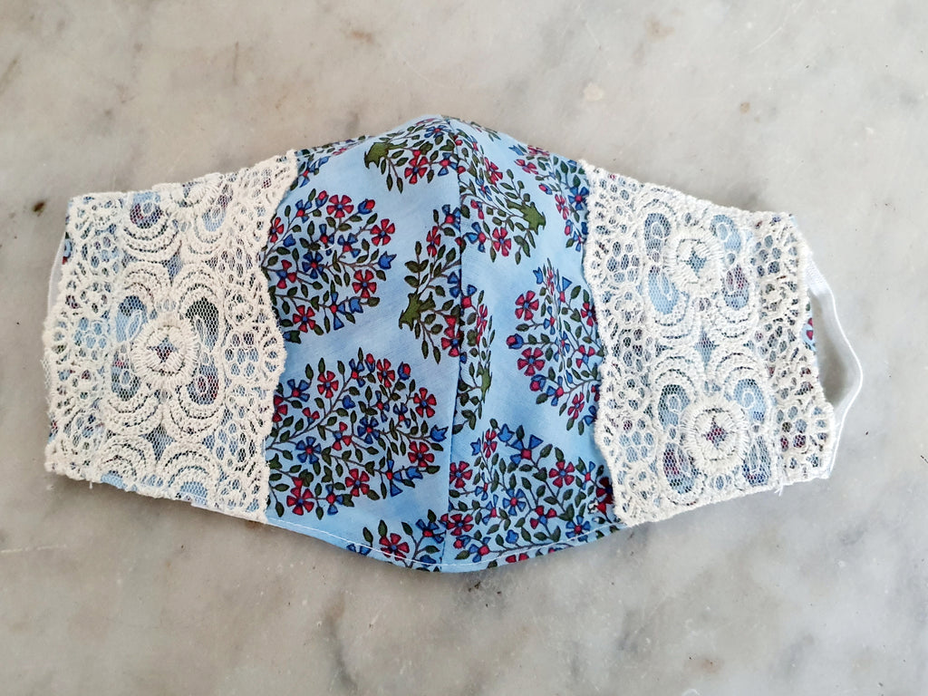 Blue Paisley Lace Mask Set of 2
