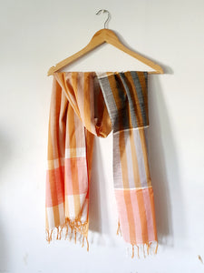 Color Blocked Sunset Hand Woven Stole