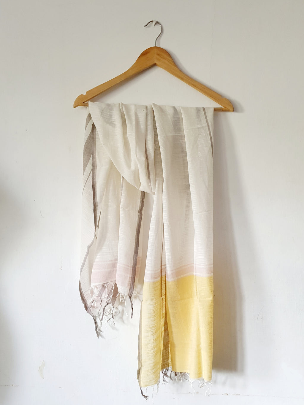 Chrome & Soft Coral Hand Woven Stole