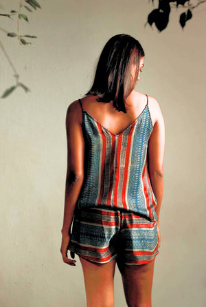 Chhaya Tank Top - Ajrakh Stripes