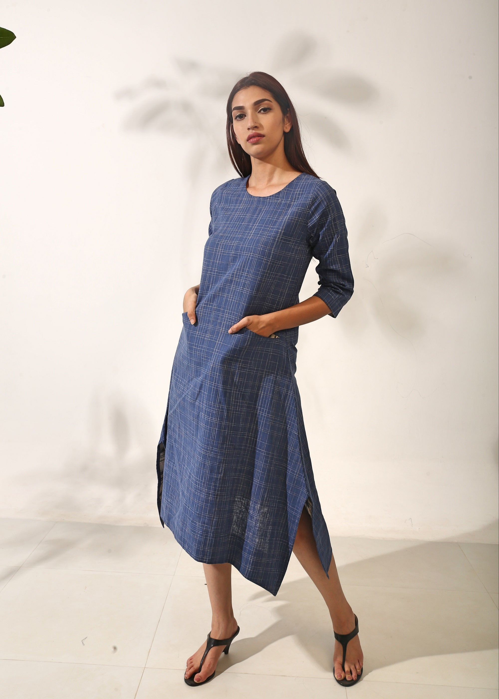 Indigo Slub Dress
