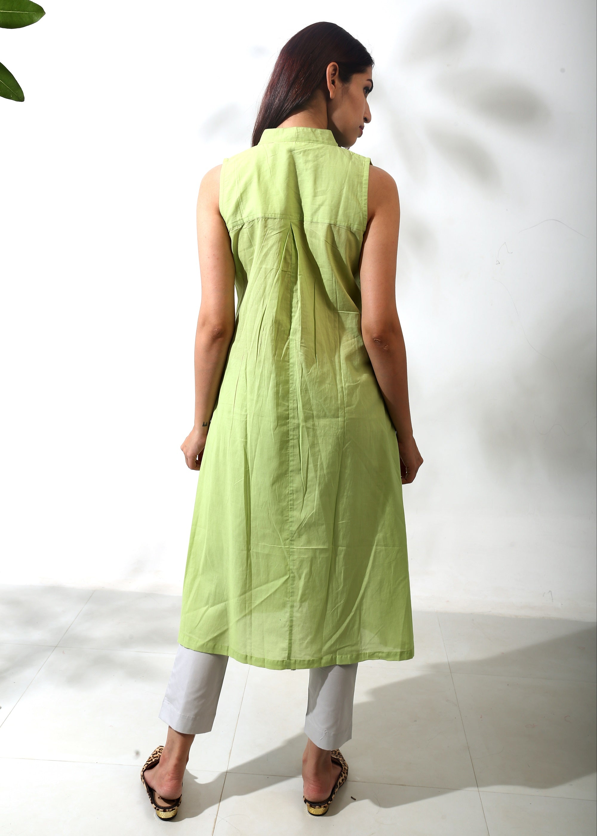 Sleeveless Pleated Tunic