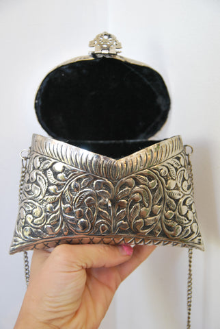 Embossed Silver Cocktail Bag