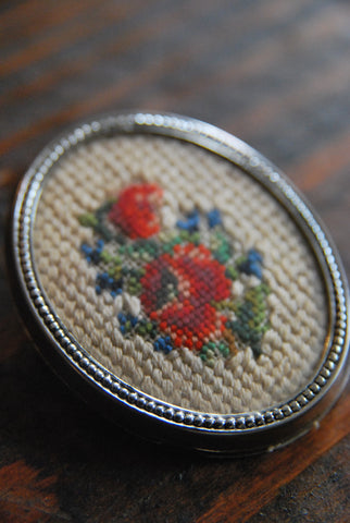 Cross Stitched Floral Brooch