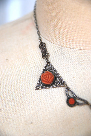 Art Deco Coral Rose Necklace