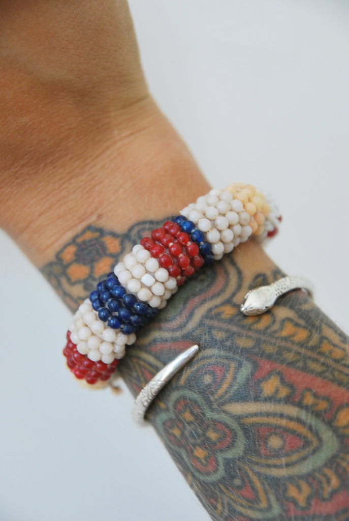 Striped Beaded Woven Bracelet