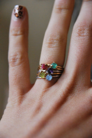 Rough Cut Birthstone Rings