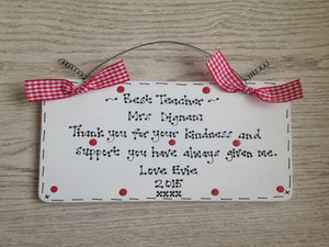 Teacher personalised thank you sign