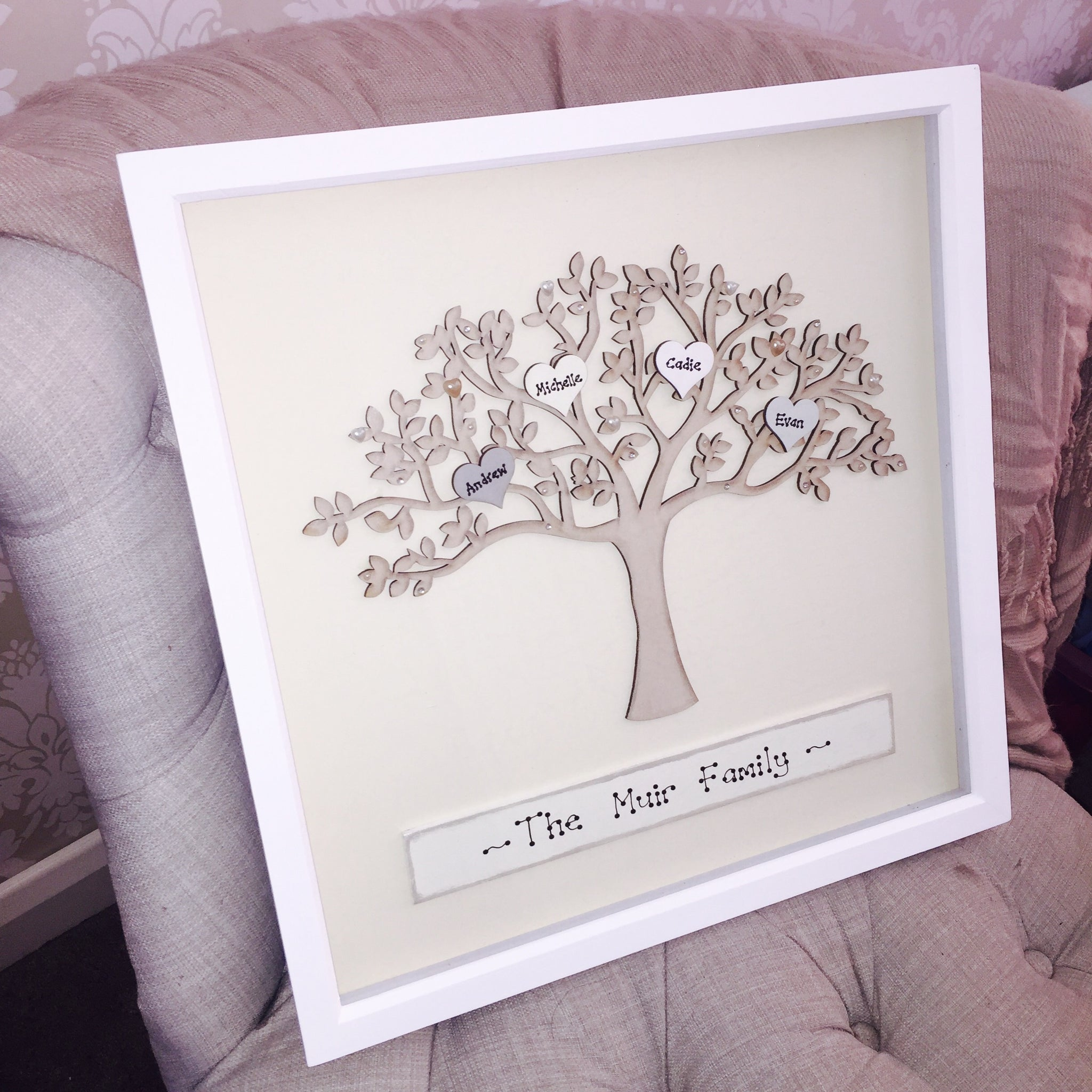 Family tree personalised in white picture frame – The Scrummy Yummy Shop