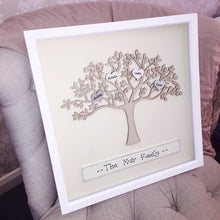 Load image into Gallery viewer, Family tree personalised in white picture frame