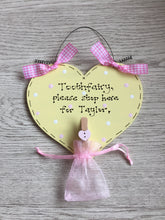 Load image into Gallery viewer, Tooth fairy stop here personalised plaque sign
