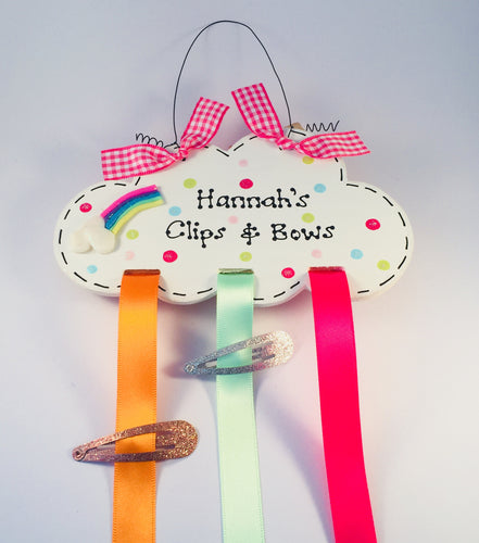 Rainbow cloud personalised clip & bow holder room plaque sign