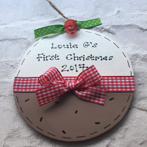 Christmas pudding personalised sign