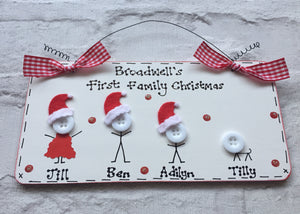 Christmas Stick people personalised sign