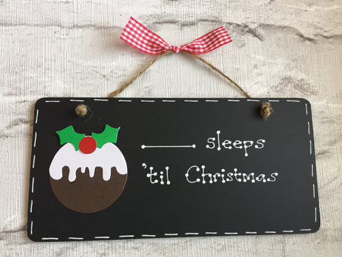 Christmas countdown chalkboard plaque sign