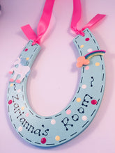 Load image into Gallery viewer, Unicorn personalised horseshoe room plaque sign