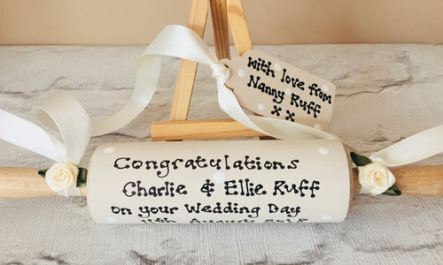 Wedding rolling pin personalised