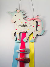 Load image into Gallery viewer, Unicorn personalised clip & bow holder plaque sign