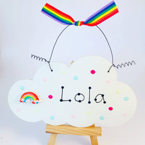 Rainbow cloud room sign