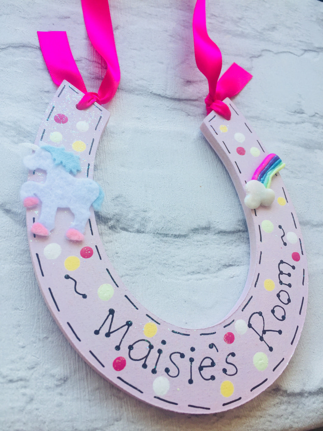 Unicorn personalised horseshoe room plaque sign